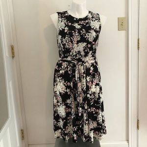 Black Floral Dress with tie